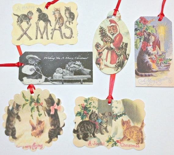 Christmas Gift Tags - Christmas Cats, Favor Tags, Cats Gift Tags,Thank You Tags,Christmas Gift Tags,Christmas Wrapping,Holiday Gift Tags