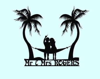 Beach or Nautical Themed Wedding Cake Topper. Couple in a Hammock, Surf, Sand, Sea, Salt, Beach Nautical, Island Cake Topper