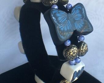 Blue Butterfly Beaded Beeswax Clay Bracelet B167-812