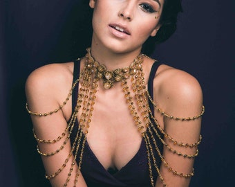 Gold Crystal Layered Shoulder Jewelry, Gold Luxury Shoulder Jewelry w/ Citrine Stones, PRINCESS of MARRAKESH Layered Crystal Shoulder Chain