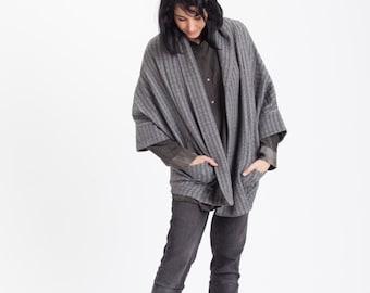 SALE 50% off Women cardigan, women gray cardigan, gray sweater, oversize gray jacket, kimono cardigan jacket, women jacket by Meanwhile
