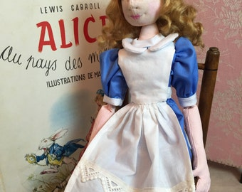 Alice in wonderland. Alice doll. Story book doll. OOAK Art Doll. Fully articulated doll. Artist cloth doll.