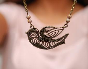 Woodland Bird Pendant, Flying Bird Necklace, Nature Lover Gift