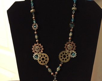 Steampunk Blue and Gear Necklace