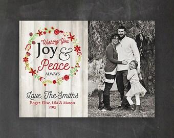 CHRISTMAS CARD - Wishing You Joy & Peace Always - Digital File