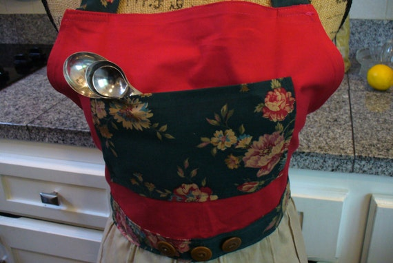 Full Apron, Vintage Material Apron, Floral Apron, Red, Khaki, and Green Apron, Long Apron, Re-Purposed Apron, Apron with Pocket, MarjorieMae