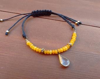 Bohemian Diamond Tear Yellow Gemstone Macrame Bracelet