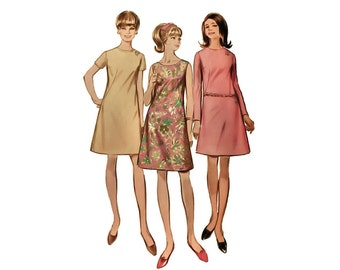 1960s woman dress pattern, Simplicity 7507, size 13, A-line, sleeve variations, round neckline, back zipper, PREVIOUSLY CUT