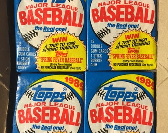 4 vintage 1989 Topps Baseball wax packs trading cards