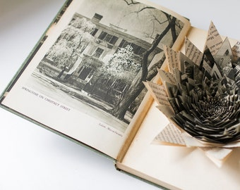Ever New England - Hand Made Vintage Book Flower Sculpture
