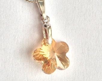 Swarovski Flower Necklace, Swarovski Gold Flower Necklace, Tiny Flower Necklace, Swarovski Jewelry