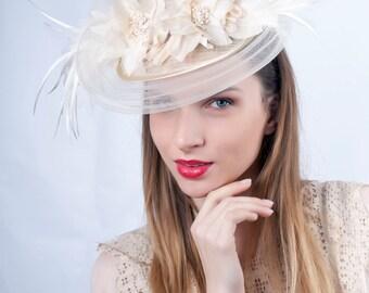 Cream Wedding hat, Wedding Hat, Romantic hat, Tea party hat, Ivory wedding fascinator, Cream Bridal hat, Bridal fascinator, Ivory fascinator