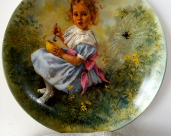 Vintage Little Miss Muffet Collector Plate, Mother Goose Series, 1981, Limited Edition Series, John McClelland Series Plate