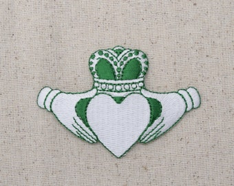 Irish Claddagh - Green and White - Love, Loyalty, Friendship - Iron on Applique - Embroidered Patch - 696718C