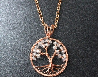 Copper Tree-Of-Life Necklace Boho Tree of Life Pendant Necklace April Birthstone Taurus Necklace Leo Necklace Aries Rustic Tree Gift For Her