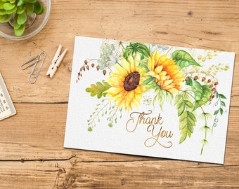 Sunflower Thank You Card Printable Instant Download, Boho Chic Bridal Shower Thank Yous, Floral Watercolor Matching, Wedding, DIY Thanks