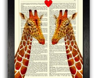 GIRAFFE LOVE Art Print, Anniversary Gift for Husband, Gift for Wife, Home Office Decor, Bedroom Wall Art, Love Heart Poster Print, Love Art