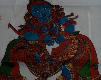 Handloom  saree  with  mural  print