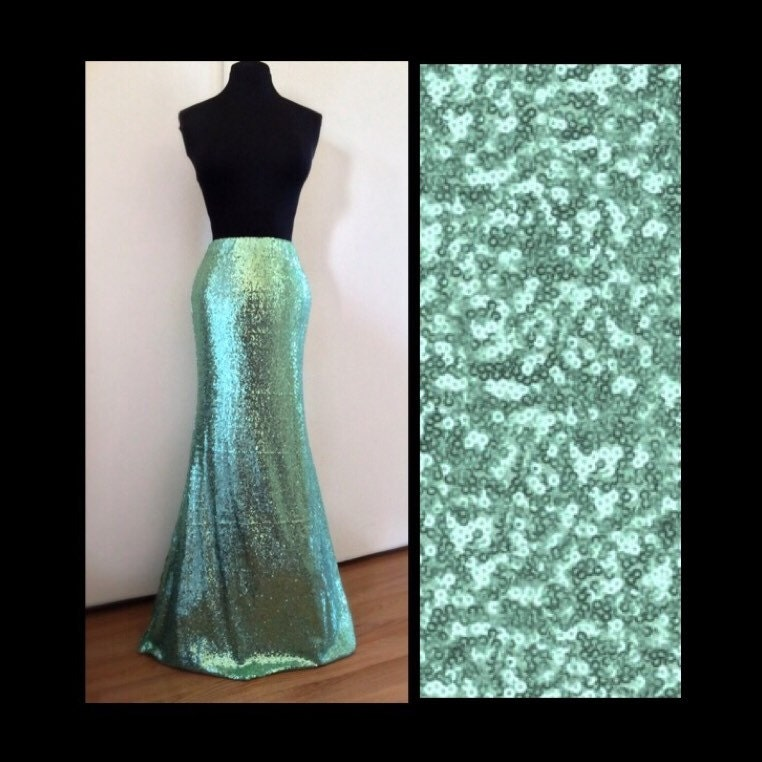 mint green sequin maxi skirt by sparklemegorgeous on etsy