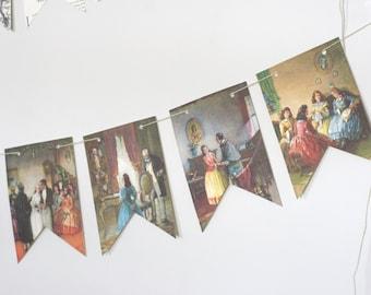 Little Women Victorian Print Paper Bunting Banner Pennant Garland