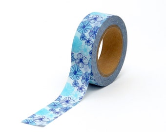 Floral Washi Tape Blue Flowers 10m