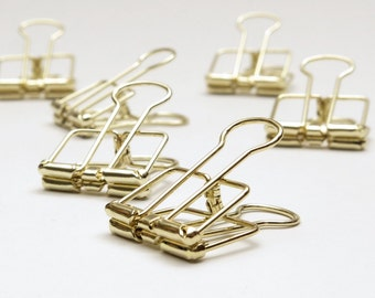 Gold Planner Clips Binder Accessories Bull Clips Skeleton Paper Clips Bullclip x 5