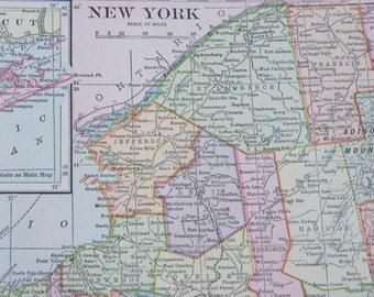 1909 New York & Connecticut Antique Map