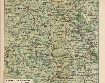 1920 Matlock & Dovedale United Kingdom (Great Britain) Antique map