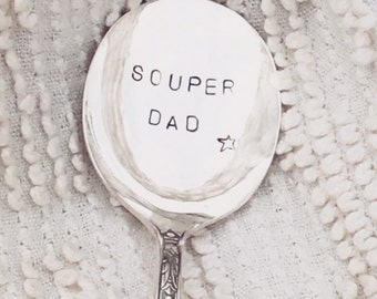 hand stamped vintage soup spoon - souper dad, personalized silver spoon