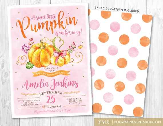 Pumpkin Fall Baby Shower Invitation, Girl Fall Baby Shower Invite, Burlap Autumn Shower, A Little Pumpkin Is On The Way • BS-F-01