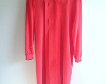 Vintage Red Silk Day Dress Perfect for Valentine's Day
