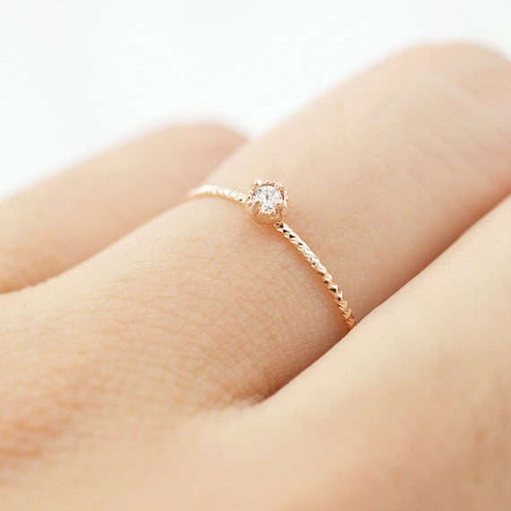 14K rose gold diamond ring Simple gold diamond ring