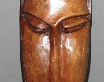 Vintage Hand Carved Wood Wall Decor Mask