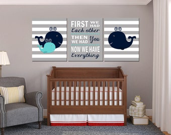 Nautical Nursery Art, Baby Boy Nautical nursery, Whale nursery Art, Whale Nursery Decor, First We had each other, Printable Nursery - 8x10