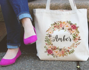 Personalized Tote Bag | Floral Tote Bag | Beige Tote Bag | personalised Tote Bag | Bridesmaid Tote Bag | Canvas Tote | Custom Tote bag