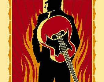 Johnny Cash walk the line 1958 Album Art Poster Stretched Art Canvas Choice of sizes available.