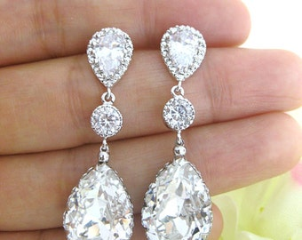 Bridal Crystal Earrings Swarovski Clear White Crystal Teardrop Earrings Wedding Jewelry Bridesmaid Gift Bridal Bridal Long Earrings (E063)