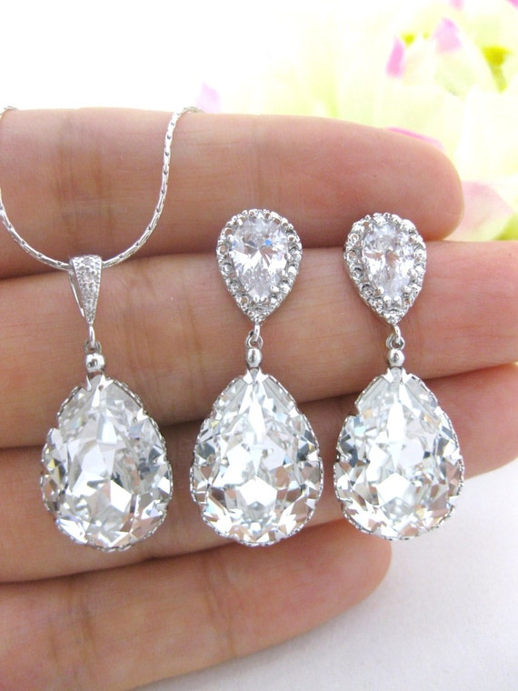 Wedding Jewelry Set Swarovski Crystal Clear By AllYourJewelry