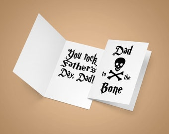 Fathers Day card, dad to the bone, dads gift, bad to the bone