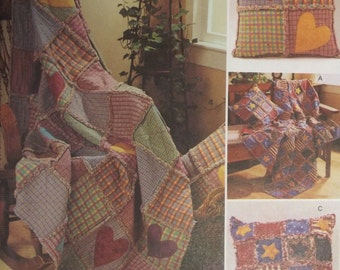 Rag Throws & Pillows McCall's 3901 Craft Sewing Pattern 2002 Blankets Make Your Own Gifts, Home Decor Throw Pillow Uncut Factory Folded 55N