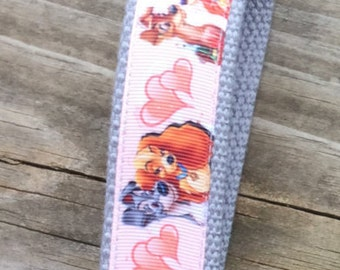 Lady and The Tramp keychain, Ribbon keychain,  ribbon key fob, Lady and the Tramp keyring, Puppy keyring,