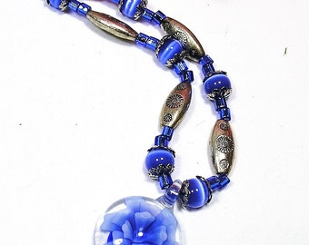 Blue Flower Glass Pendant Beaded Necklace