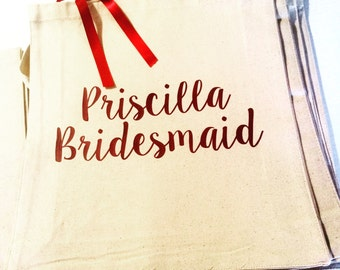Personalized Bridesmaid Gifts - Wedding Tote Bags - Set 5 Bridesmaid Gifts - Bridesmaid Tote Bags - Bridesmaid Gift - Wedding Party Gifts -