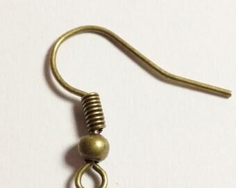 100pcs Ear Wire Hooks Antique Bronze Fish Hook Earring Findings - B00332