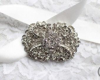 Large Rhinestone FLATBACK Brooch Silver Base with NO PIN M41 - Wedding Brooch Bouquet/Wedding Cake Brooch/Craft Supply/Jewelry Accessories