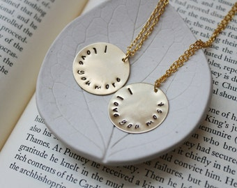 Custom handmade friends family and bridesmaid by PaperRosesJewelry Etsy Custom Gold Necklace Set   Write a name  phrase  word  date   Couple Set   Best Friend Set   Two Necklaces   Custom   Hand Stamped