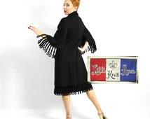 Lilli Ann 60s Black Dress & Coat | Double Knit coat and Dress | Loop Fringe Coat | Rare Coat and Dress Set |  Medium