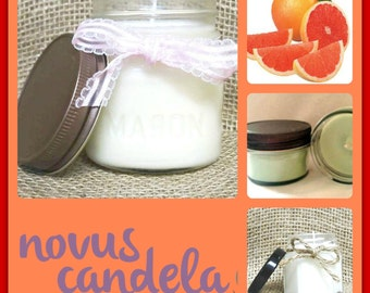 Mason Jar Candle - Soy Candle - Soy Scented Candle - Grapefruit Candle - Homemade Candle - Hand Poured Candle - Housewarming Gift - 4  8 oz