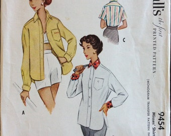 McCalls 9454 - 1950s Roomy Sport Shirt with Shirttail Hem - Size 14