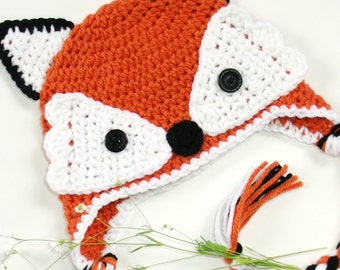 Knitted red fox cap, crocheted kitsune hat, forest animal beanie for babies 0 to 12 months old